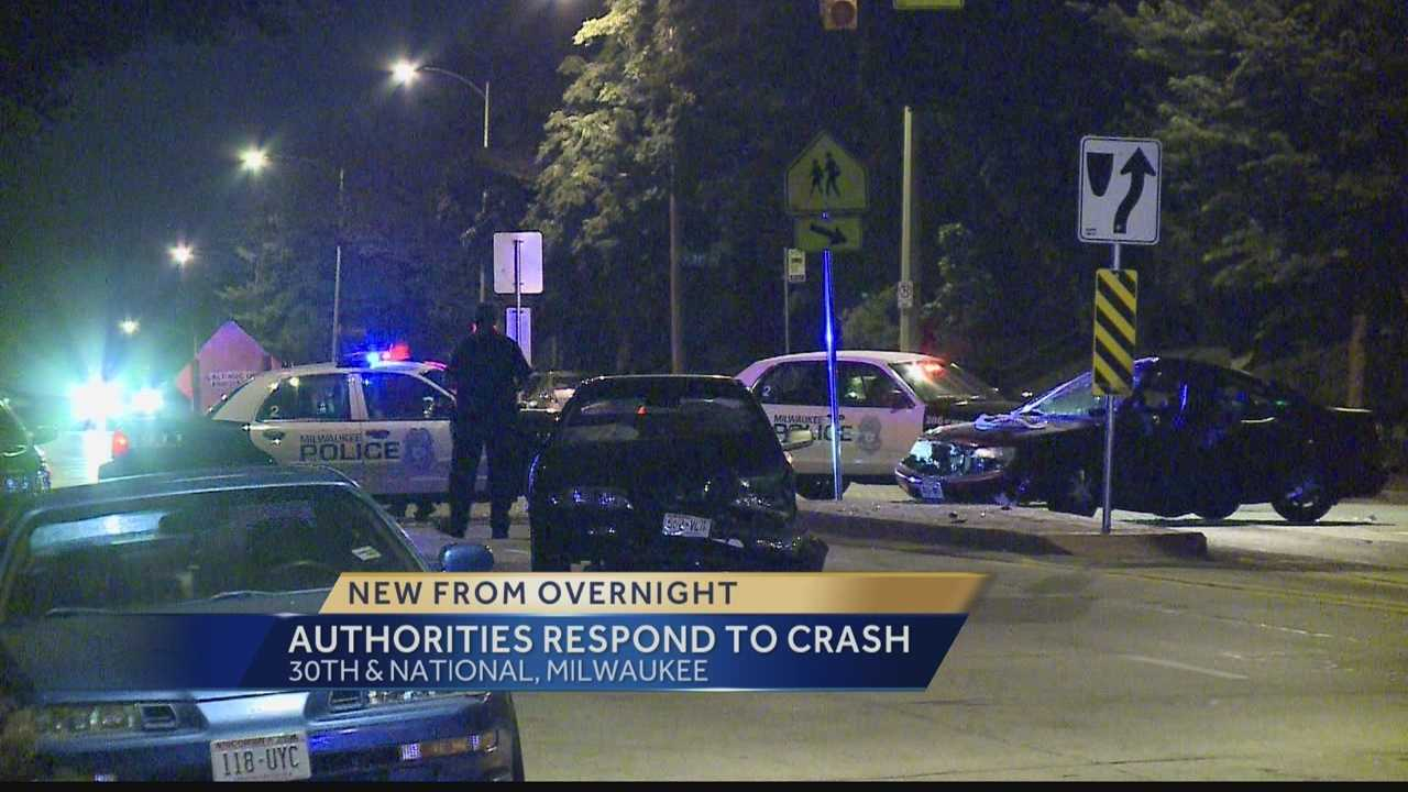 A 2-car crash late Wednesday closed the intersection of 30th Street and National Avenue in Milwaukee.