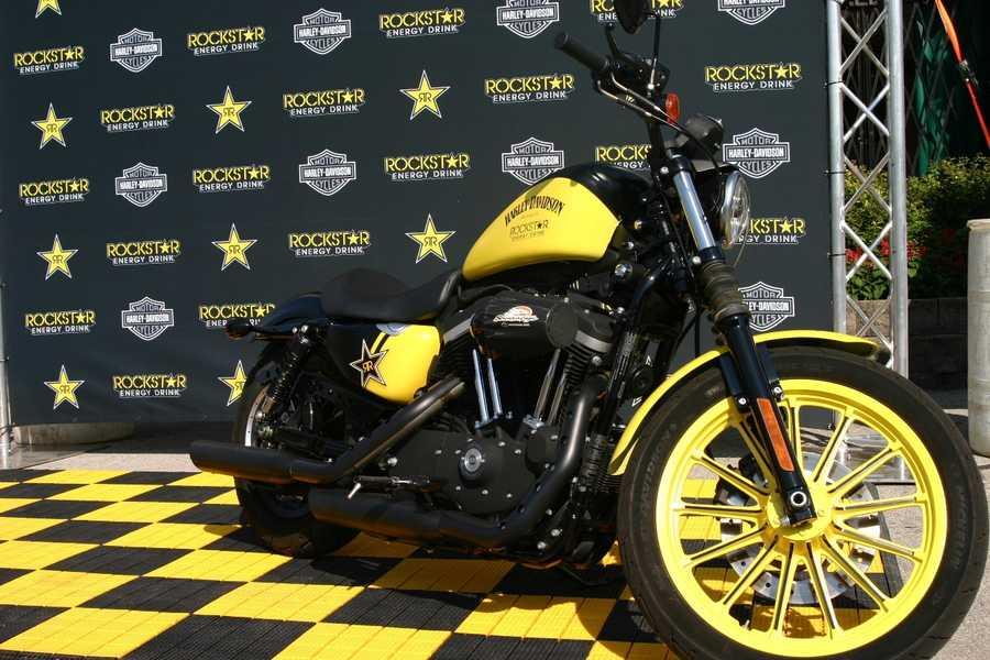 Rockstar Energy Drink Harley on display.