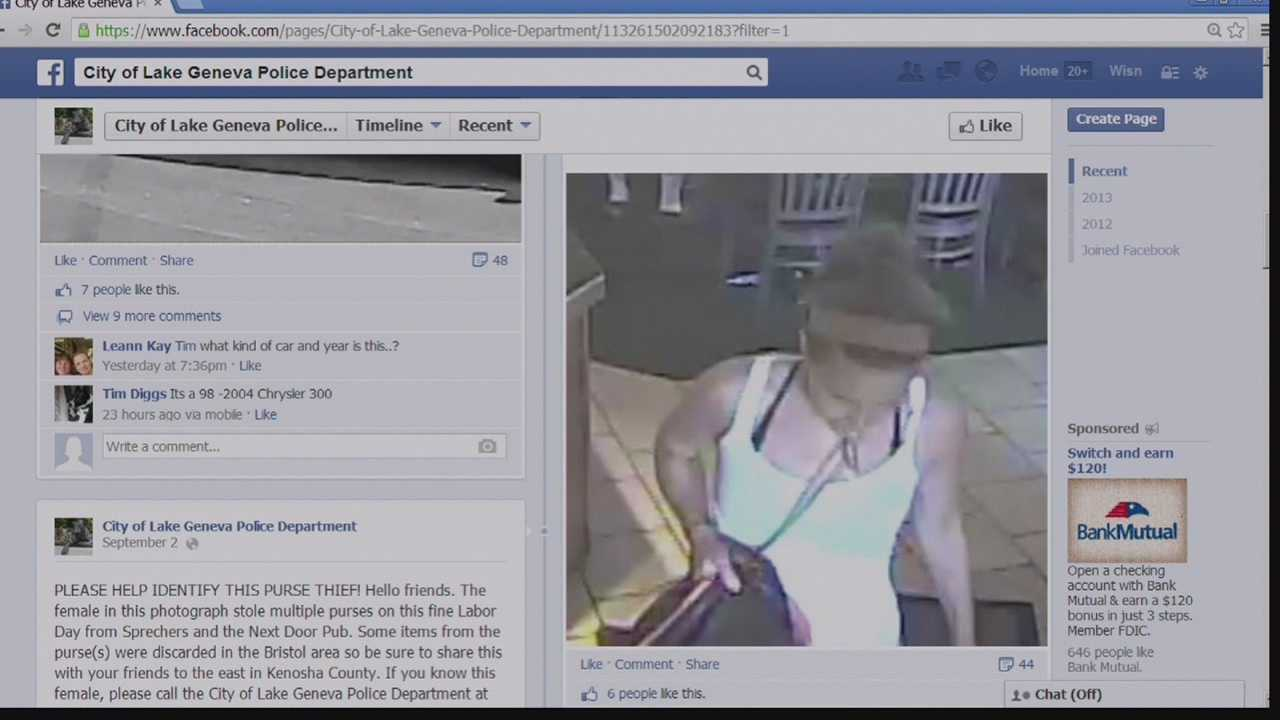 Lake Geneva police caught an alleged purse snatcher after they posted the suspect's photo on the department's Facebook page.