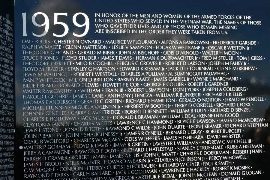 "Inscription at the top of panel 1E: ""IN HONOR OF THE MEN AND WOMEN OF THE ARMED FORCES OF THE UNITED STATES WHO SERVED IN THE VIETNAM WAR. THE NAMES OF THOSE WHO GAVE THEIR LIVES AND OF THOSE WHO REMAIN MISSING ARE INSCRIBED IN THE ORDER THEY WERE TAKEN FROM US."""
