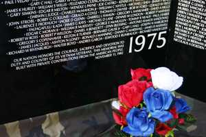 "Inscription at the bottom of panel 1W: ""OUR NATION HONORS THE COURAGE, SACRIFICE AND DEVOTION TO DUTY AND COUNTRY OF ITS VIETNAM VETERANS.  THIS MEMORIAL WAS BUILT WITH PRIVATE CONTRIBUTIONS FROM THE AMERICAN PEOPLE.  NOVEMBER 11, 1982"""