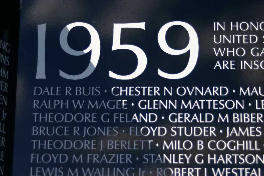 1959 is the year the Department of Defense gave as the date the first American casualties occurred.  (Other names have been added from earlier dates after the wall was built)