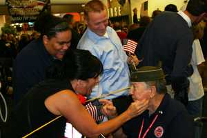 Often emotional when the vets find their family in the crowd.