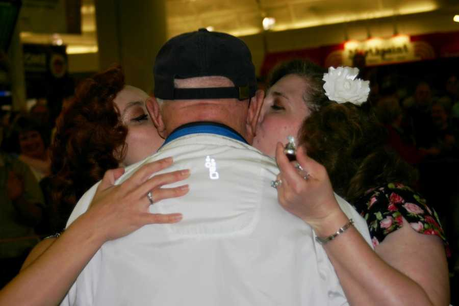The 40's girls have a kiss for this vet and a kiss (Hershey!).