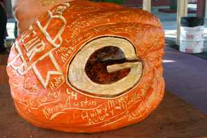 Two giant pumpkins were carved over the weekend.