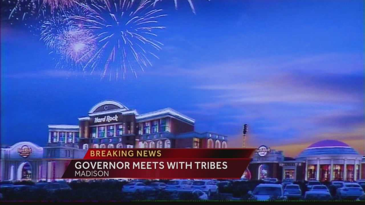Gov. Scott Walker meets with Indian tribe leaders over the future of a casino at the former Dairyland Greyhound Park.