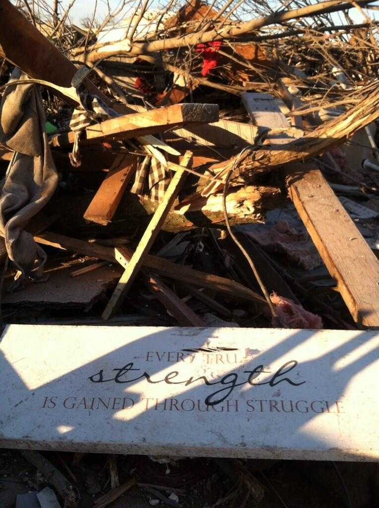 As our crew departed on Wednesday, a sign of hope was found amongst the rubble.