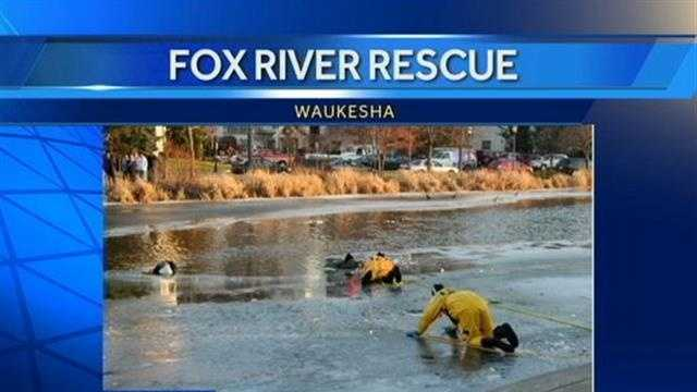 Two people were pulled out by rescuers from the Fox River on Saturday.