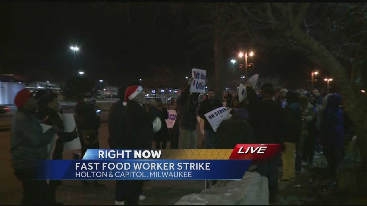 Fast food workers around Milwaukee began a wage protest at 6 a.m. Thursday, demanding higher hourly wages