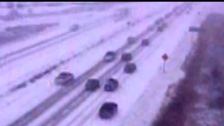 Dept. of Transportation camera capture the 5 minutes it took for a pileup on Highway 41/45 to occur and to shut down the highway Sunday.