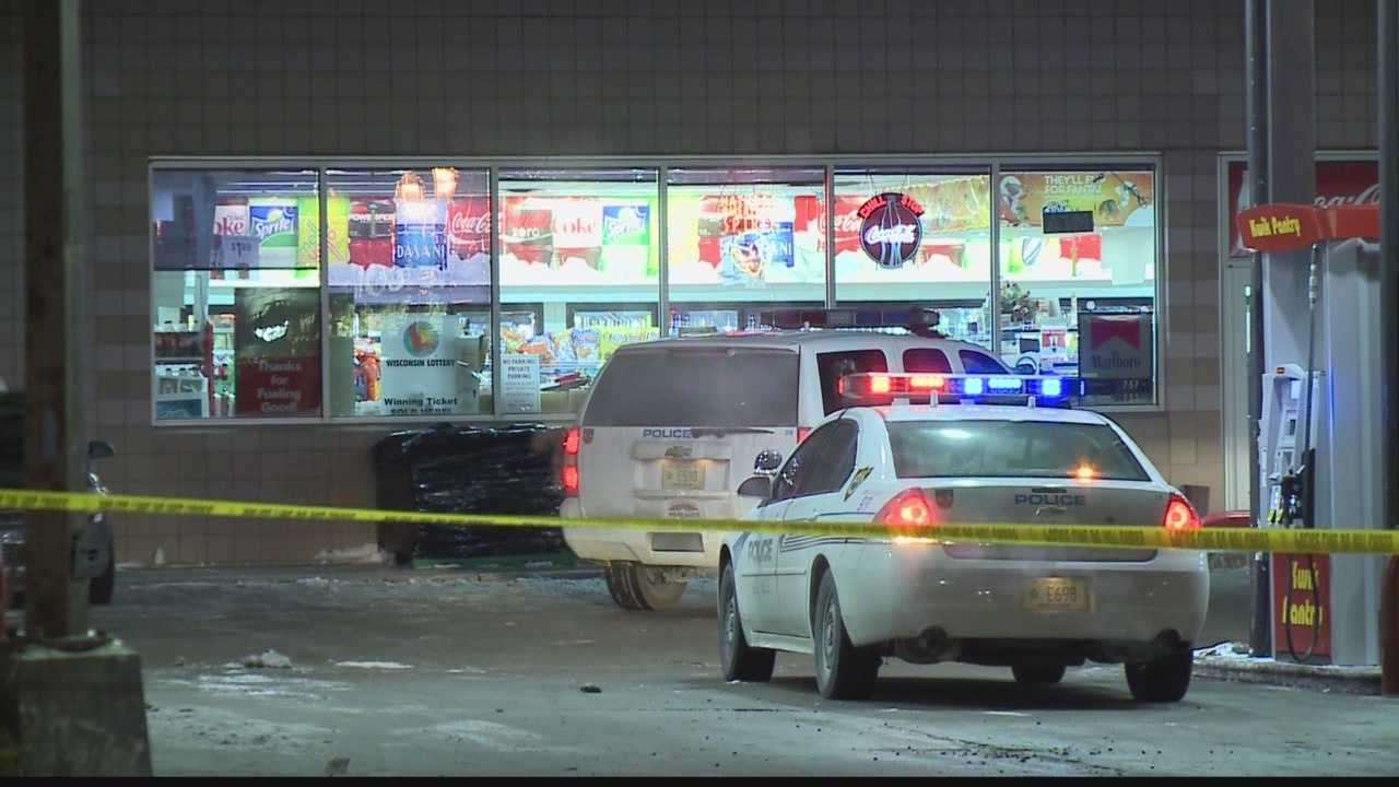 A convenience store clerk was injured early Monday morning after a robbery shot him in the stomach.