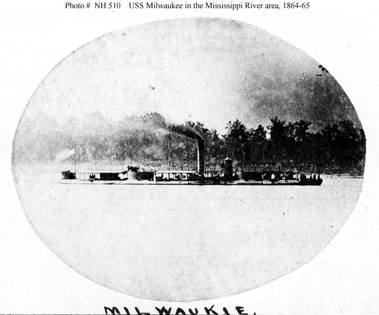 The first USS Milwaukee was 229 feet long and launched in 1864. It is listed as a river monitor and served the Union Navy during the Civil War.