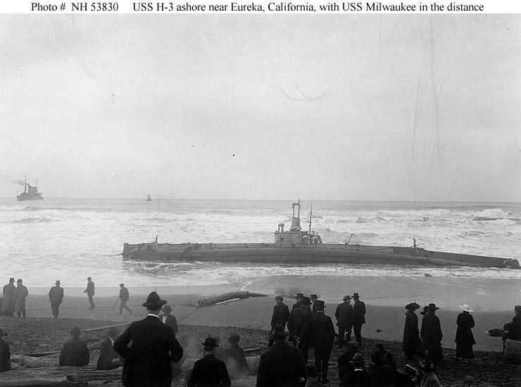 In January 1917, the USS Milwaukee headed for Humboldt Bay, Calif. to assist in salvaging a submarine (USS H-3) that had run aground.