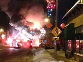 Firefighters from several departments battled a fire that began at Martini MO'z in downtown Waterford Friday morning.