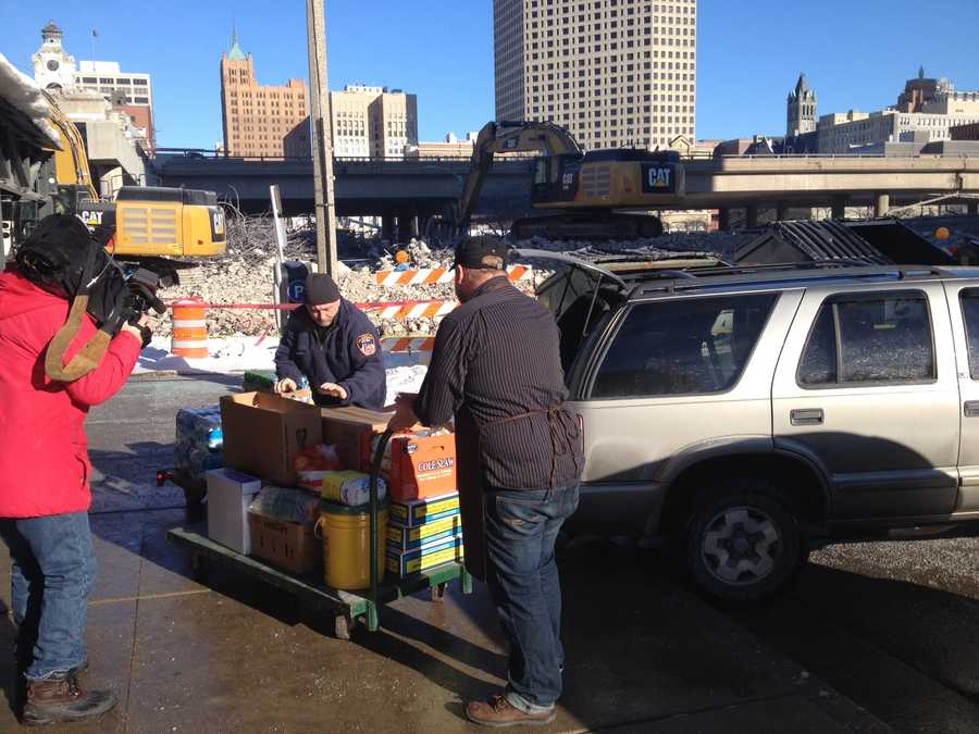 Because of the demolition work, vendors at Public Market are forced to load in from the street.