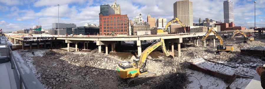 Demolition of the I-794 east bridge as seen on Jan. 15, 2014