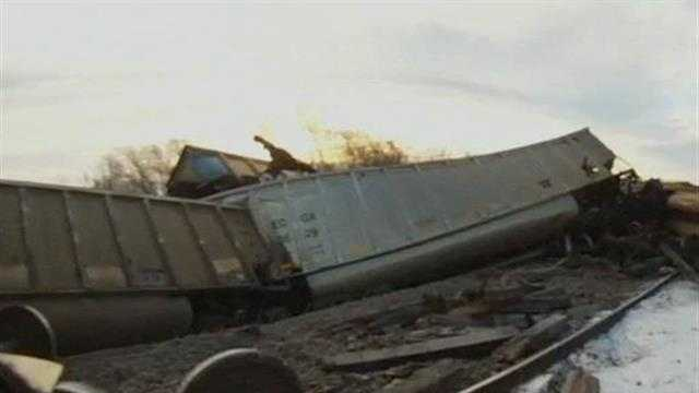 A freight train derailed in Caledonia Sunday and weather may have been a factor.