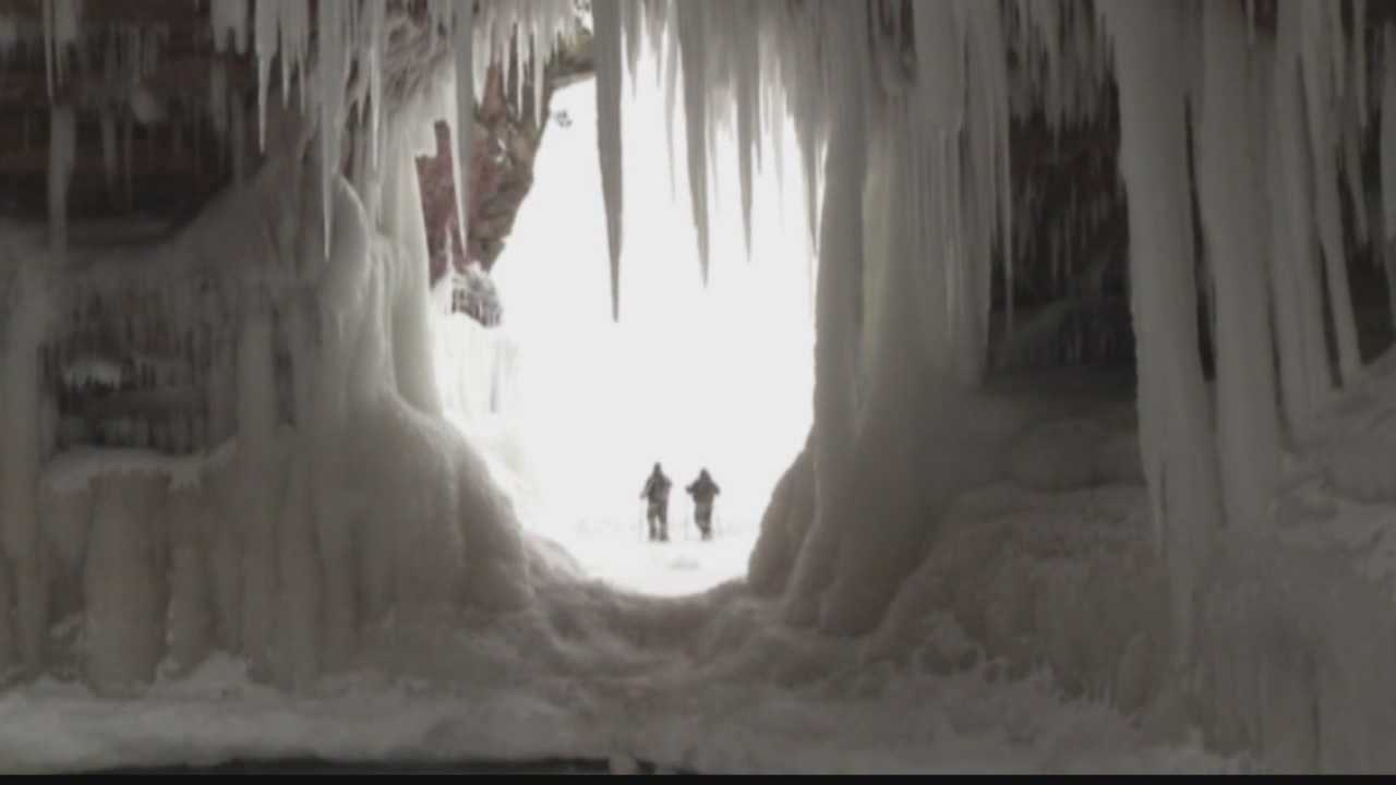 The Apostle Islands near Bayfield, Wisconsin are sporting some spectacular ice formations this year.