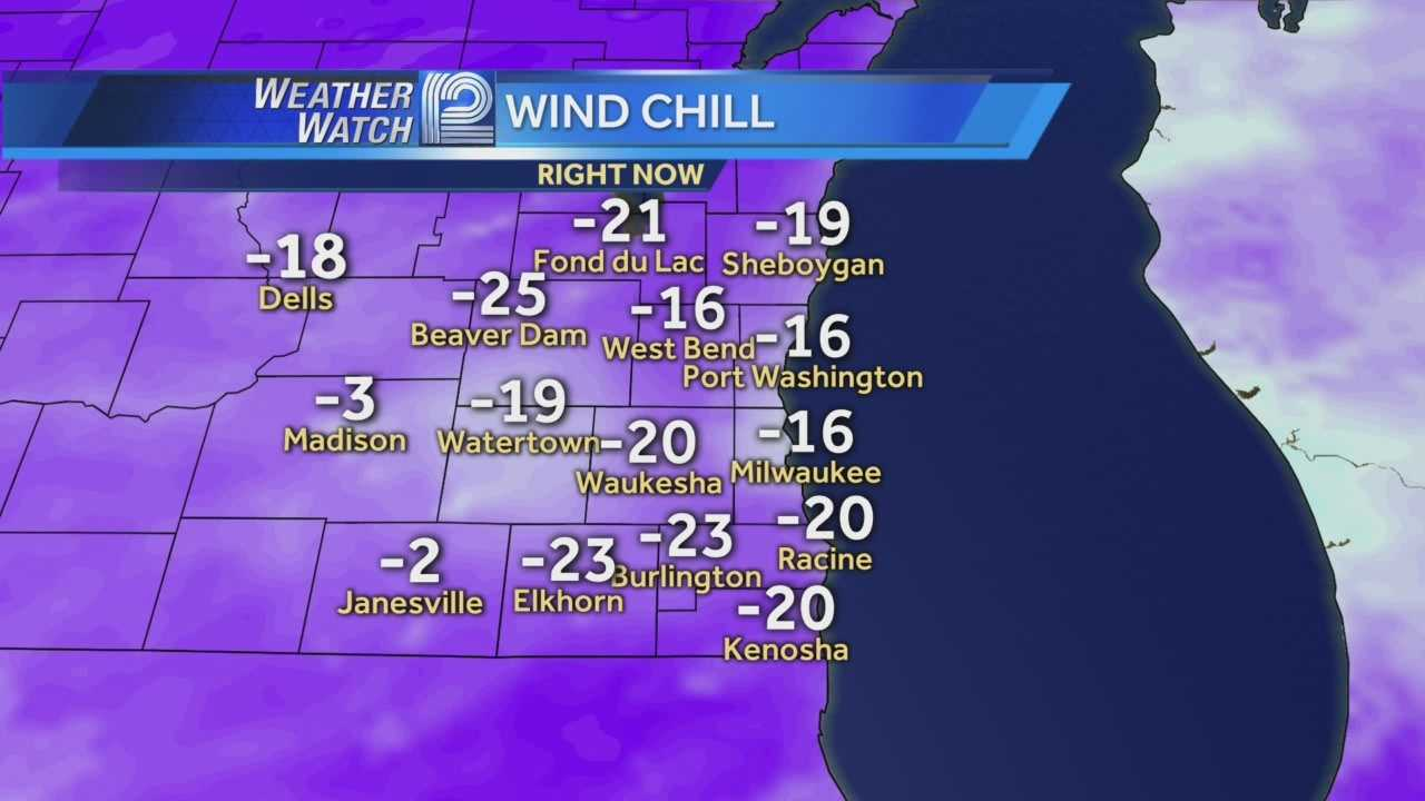 Wind chills will stay in the double digits below zero for the next few hours.