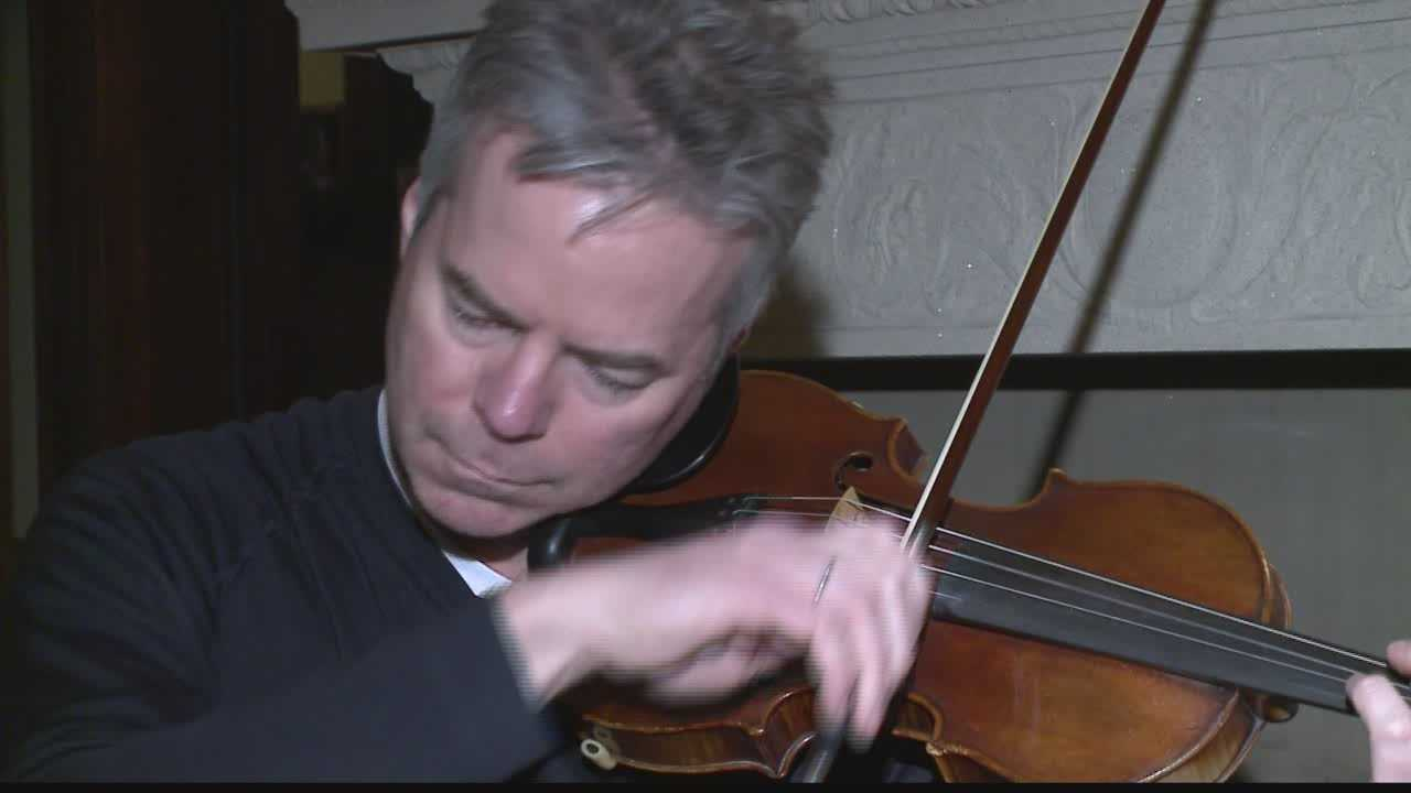 Frank Almond back in Milwaukee and reunited with Stradivarius violin.