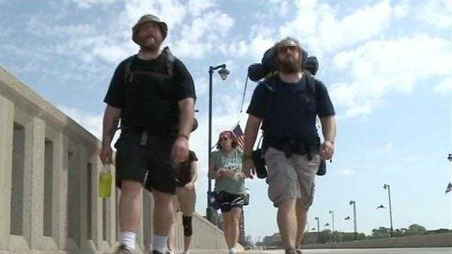 A celebration was held in Milwaukee Saturday for two local war veterans who walked from Milwaukee to Los Angeles.