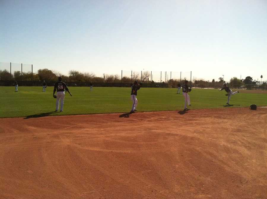 Feb. 20: Brewers pitchers playing catch