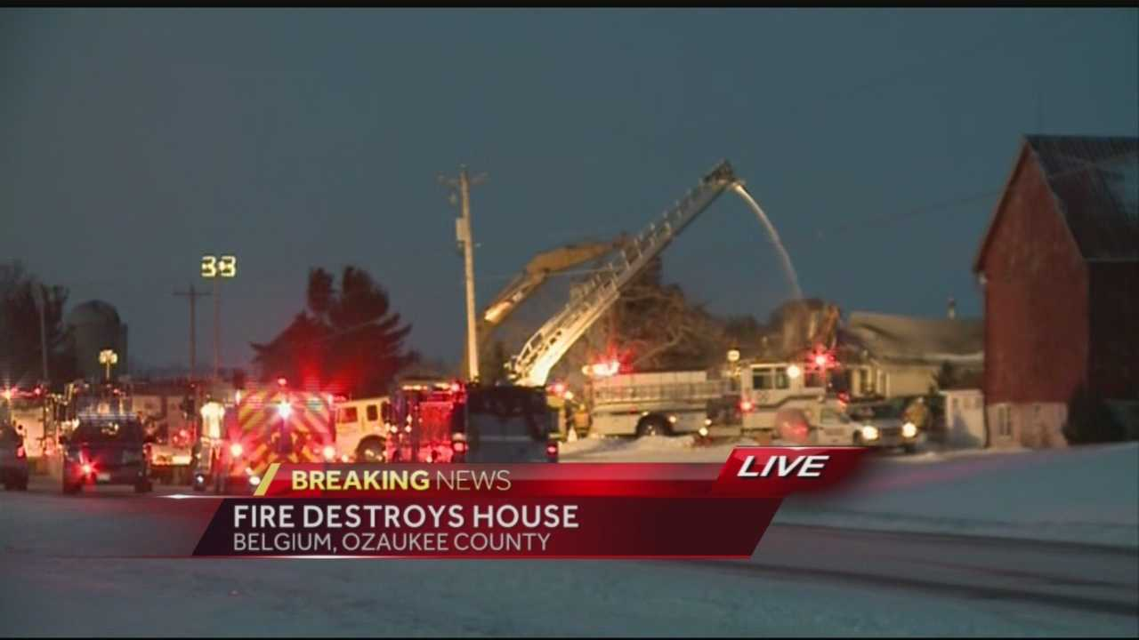 Firefighters in Ozaukee County spent the night in the bitter cold trying to put out a fire that destroyed a home.  WISN 12 News' Ben Hutchison reports from the scene.