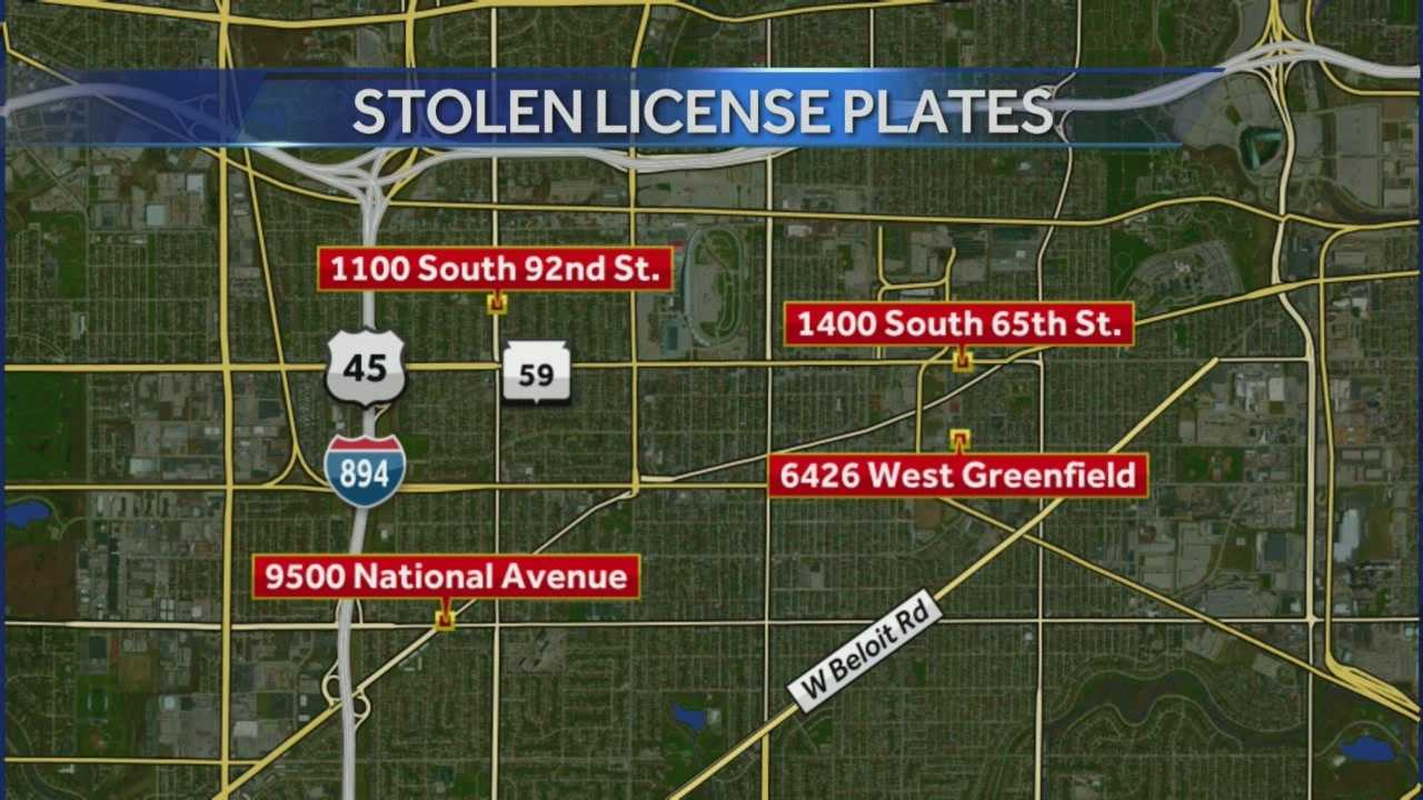 A rash of stolen license plates in West Allis