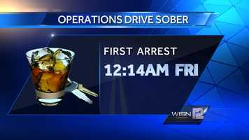 The first DUI arrest was at 12:14AM Friday.
