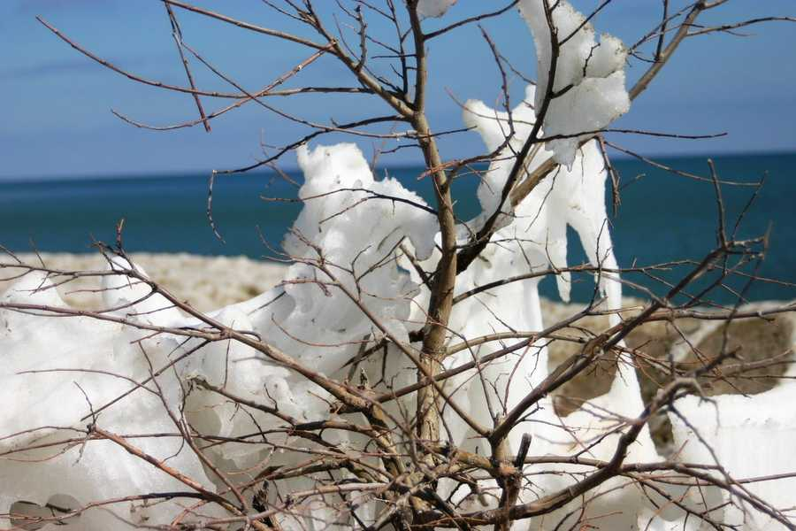 Remnants of the long, harsh winter are still present along the lake front.