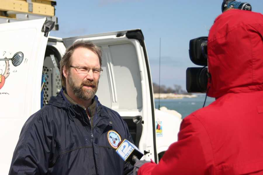 Scott Diehl, Wildlife Manager at WHS, talks to the 12 News crew about the release.