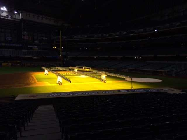 The Milwaukee Brewers' grounds crews are using grow lights to help ensure the grass is ready for opening day.