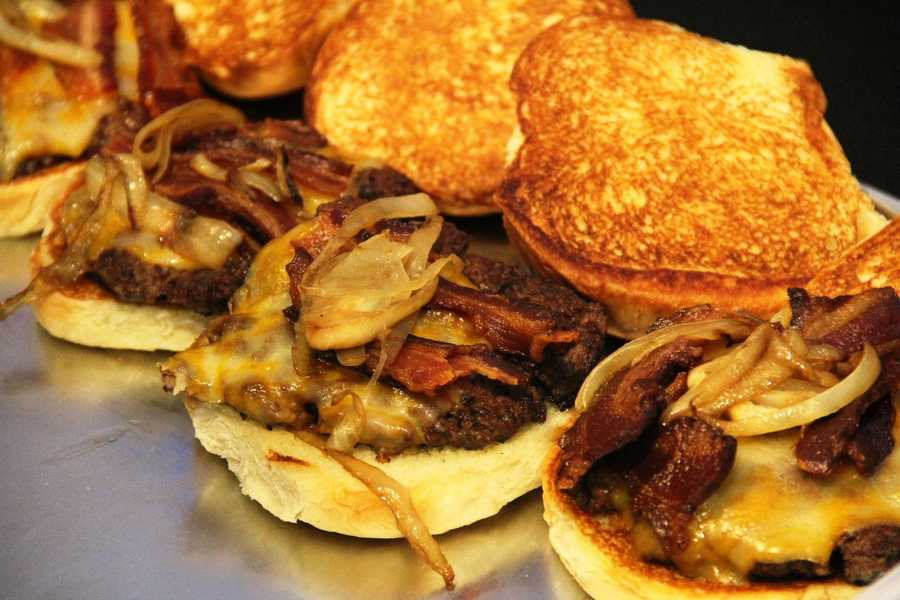 This is the Milwaukee Burger (Colby cheese, Nueske's bacon, topped with Schlitz onions).