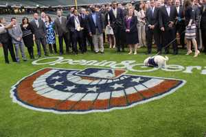 The Brewers front office staff take their annual photo on the field, this year with Hank.