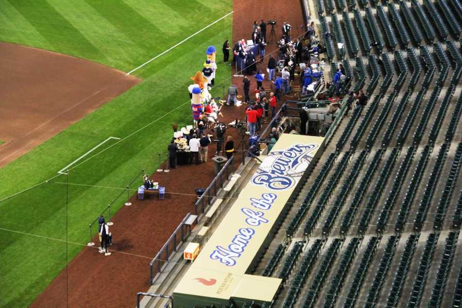 """""""Media row"""" broadcasting on Opening Day."""