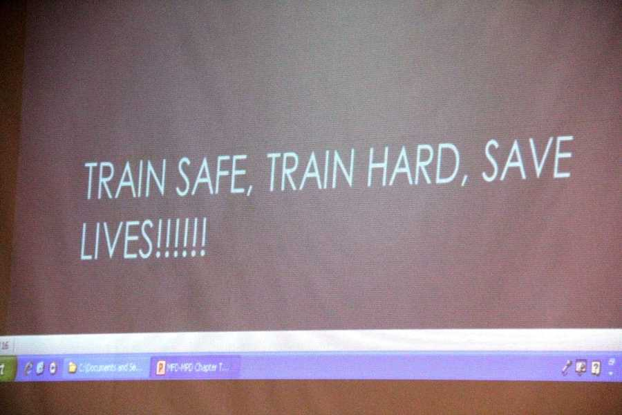 The final words the participants saw before heading into the training.
