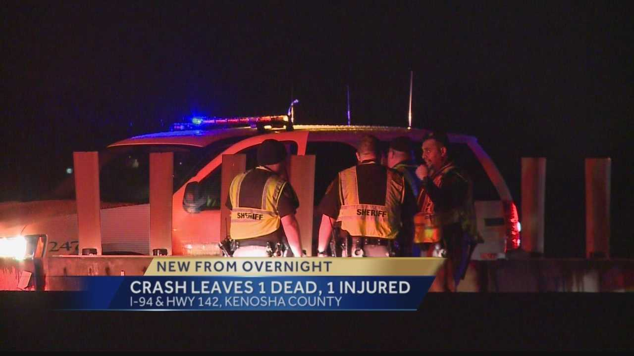 A portion of Interstate 94 near Hwy 142 in Kenosha County was closed overnight after a minivan struck the back of a semi-trailer. One person was killed, a second was injured.