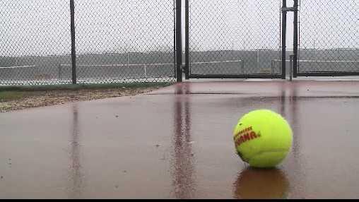 wet tennis court