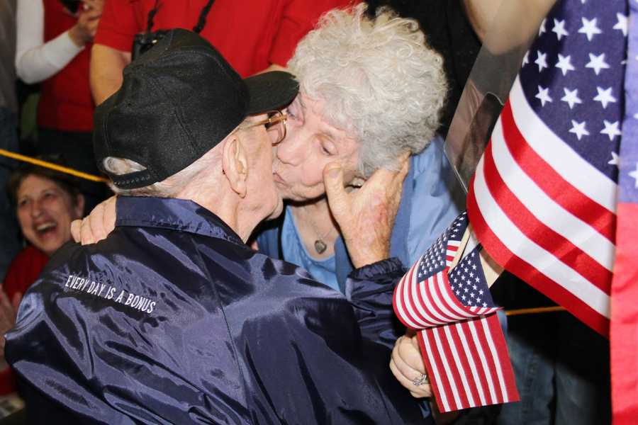 The latest Stars and Stripes Honor Flight of WWII and Korean War veterans returned to Mitchell Airport on Saturday night.