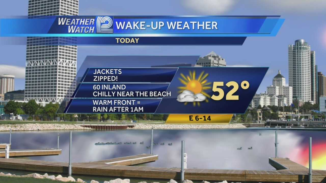 You'll need a jacket this morning, but we should hit the very low 60s inland before a warm front and some storms roll through overnight.