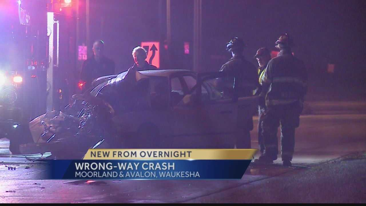 Waukesha police said a wrong-way driver crashed their BMW into a semi head-on.