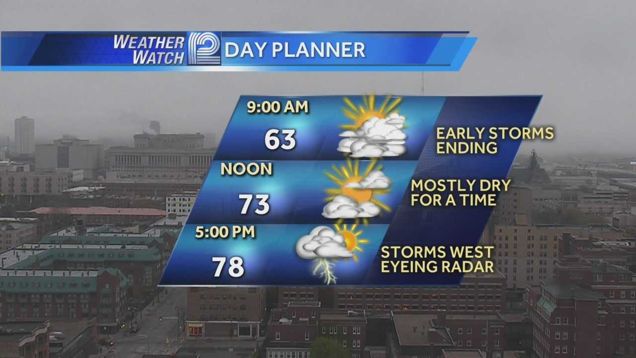 Overnight storms will clear out of Wisconsin this morning, but a second round could move in after 5 p.m.