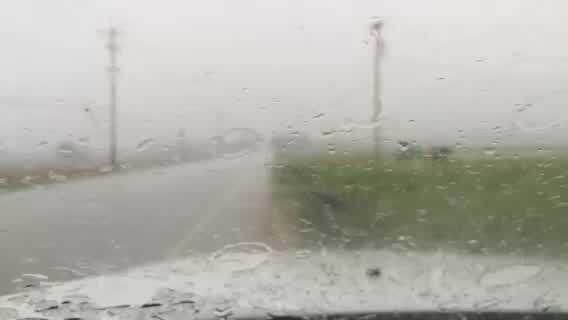 Hail falls in Kenosha.