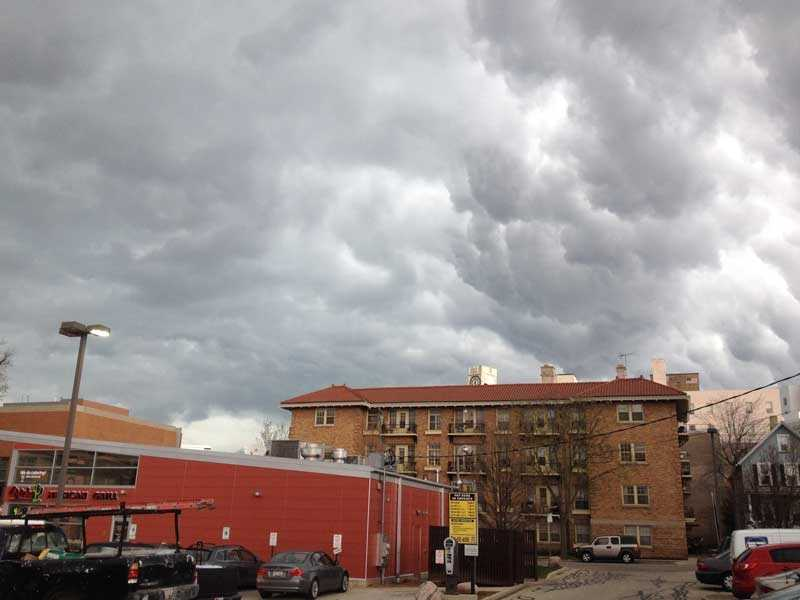 Clouds earlier on Milwaukee's east side earlier Monday