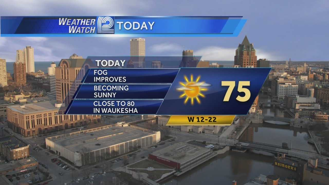 A foggy start to your Wednesday, but it will burn off mid-morning giving way to sunny and 75 for today.