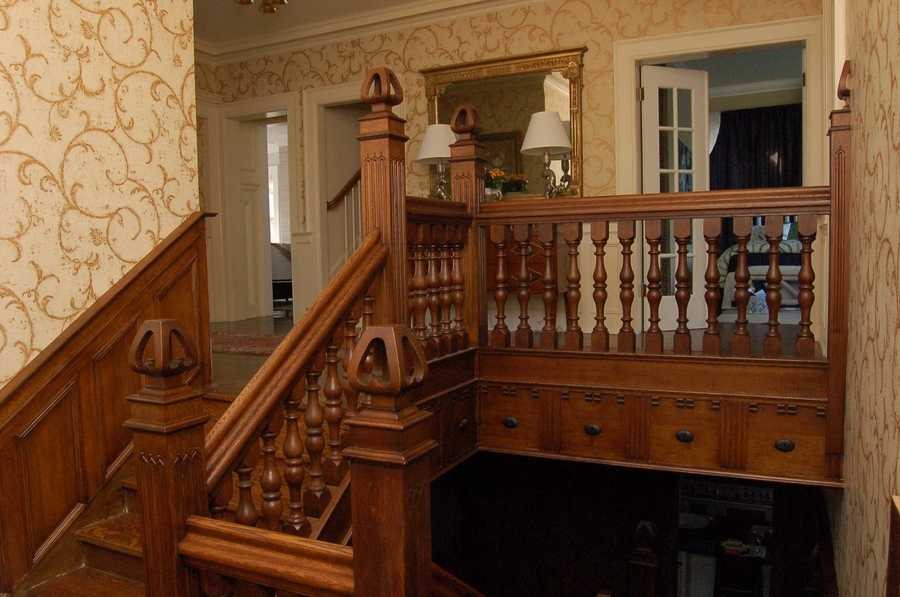 The staircase was returned to the home by current owners Randy Bryant and Cecilia Gore.
