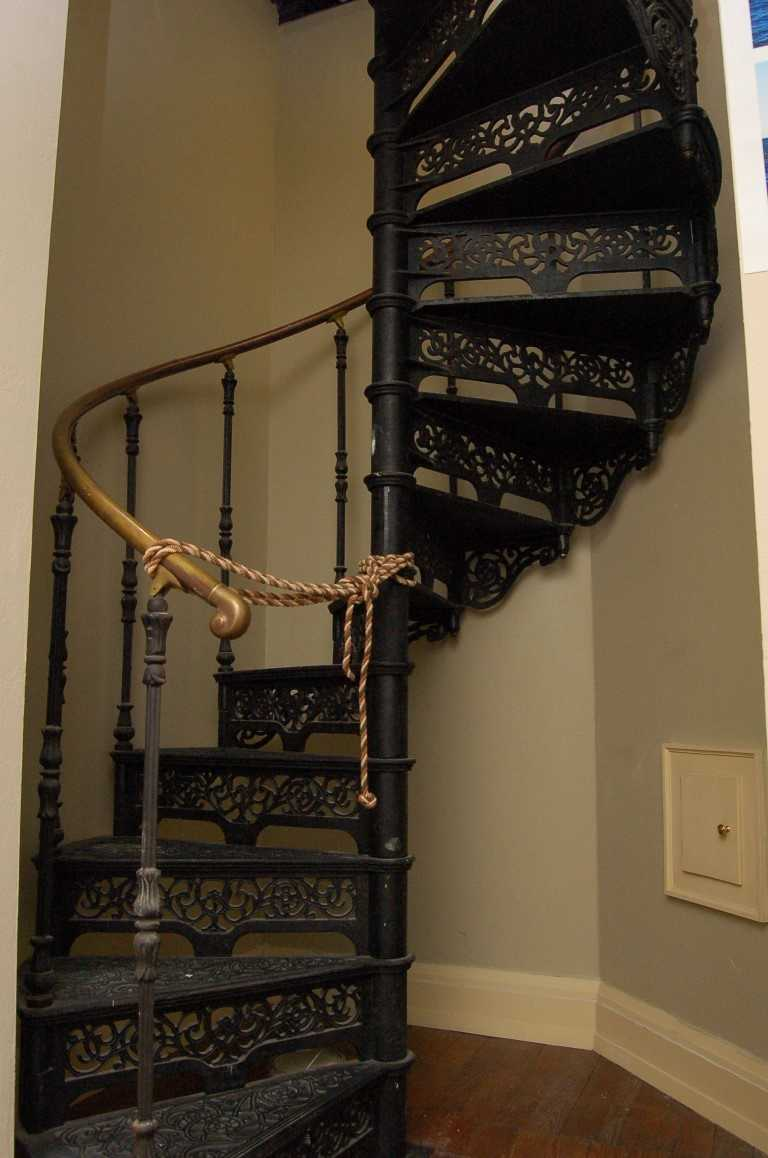 This iron staircase led to a viewing platform above the third floor.