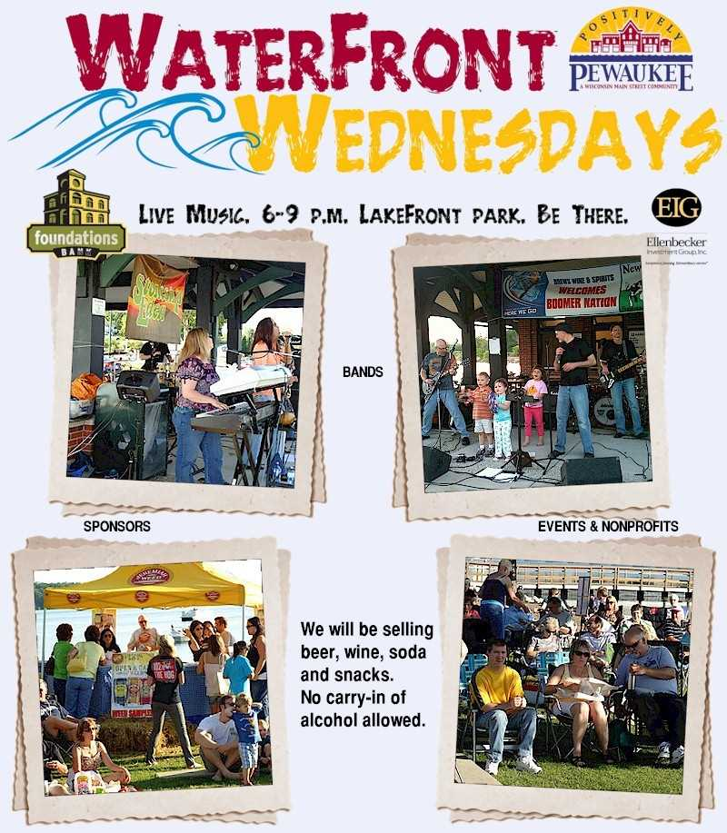Waterfront Wednesdays at Pewaukee Lake beach 120 W.Wisconsin Ave.waterfrontwednesday.com