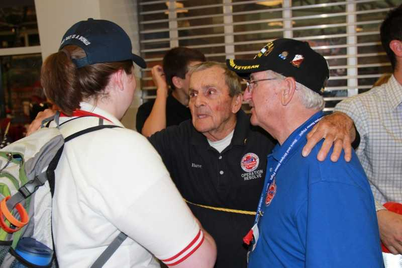 Harvey Kurz, one of the stars of Honor Flight the Movie, is always on hand to welcome home other vets.