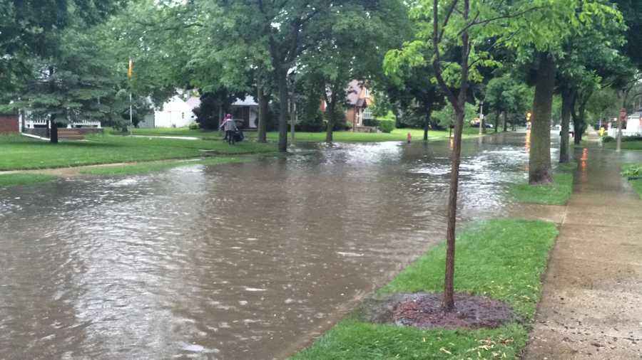 Whitefish Bay street flooding -- near Santa Monica and Shoreland